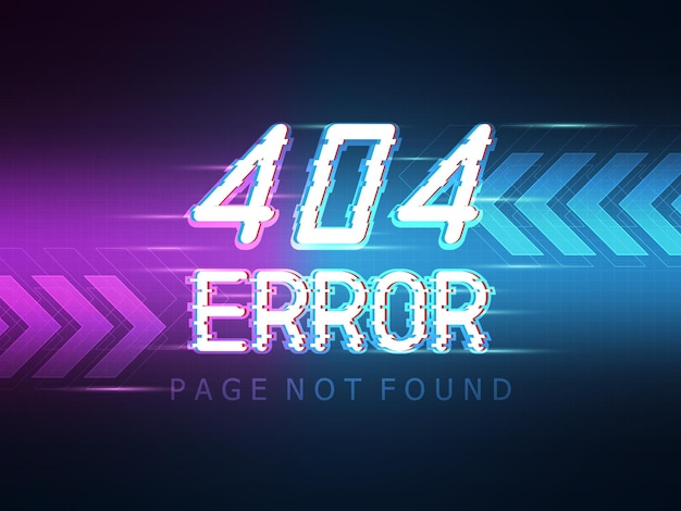 404 error message page not found with technology background illustration