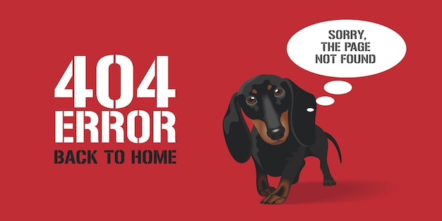 404 error page, banner with not found text. cute dog on background for error 404 concept web design element