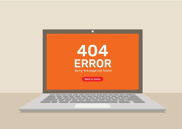 404 error page in computer laptop.