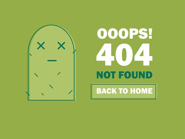 404 error page or file not found icon. cute green cactus - isolated ux ui vector illustration for web and mobile design