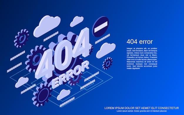 404 오류 페이지 평면 아이소메트릭 벡터 개념 그림