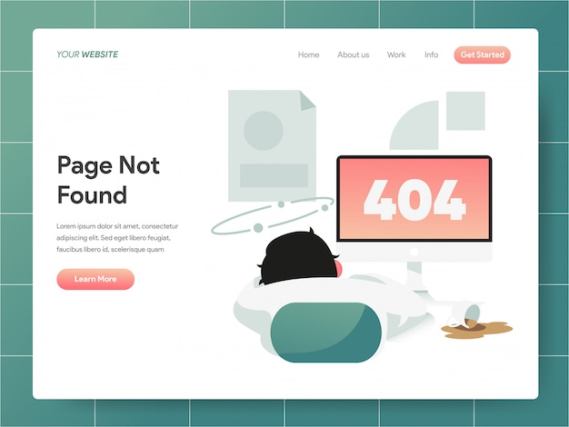 404 error page not found  banner of landing page