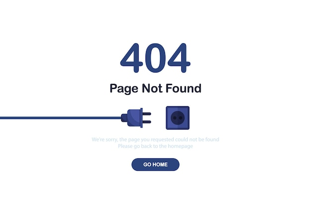 404 error page not found banner with cable and socket or cord plug for website