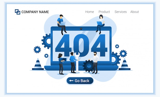 404 error page not found concept with group of people trying to fix error on website page.