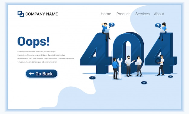 404 error page not found concept with people trying to fix error on website page near big symbol 404.