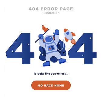 404 error page not found design with astronaut and rocket