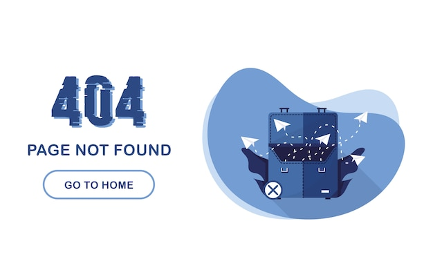 404 error page not found. go to home banner. system error, broken page. for website. business suitcase with paper airplane documents. problem report. blue and white.