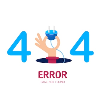 404  error page not found  hand hold plug.