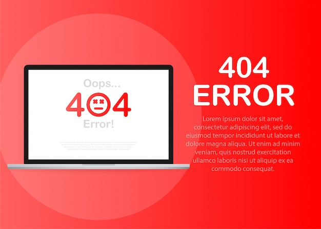 404 error page not found isolated in red