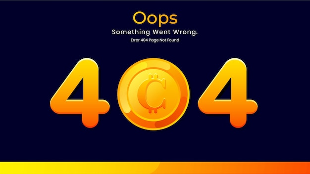 404 error page not found minimalist dark concept for cryptocurrency website