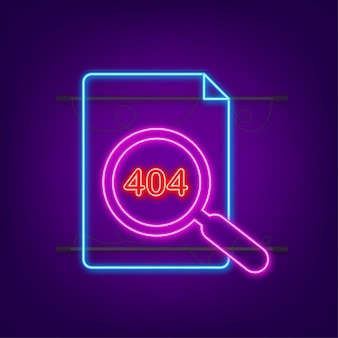 404 error page not found neon sign. vector stock illustration.