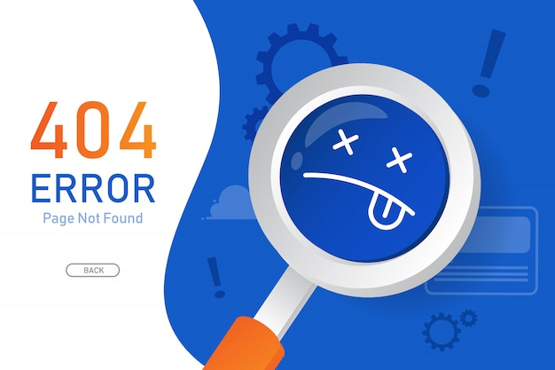 404  error page not found vector with magnifying glass graphic  design template for website