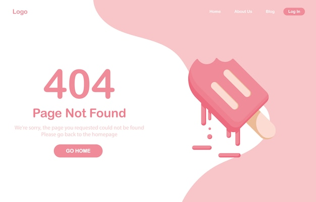 404 error page not found web. melting ice cream or frozen juice, sorbet, dessert. system error, broken page. for website. web template. pink
