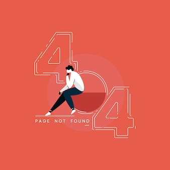 404 error page illustration, man sitting with sad emotion, page not found illustration