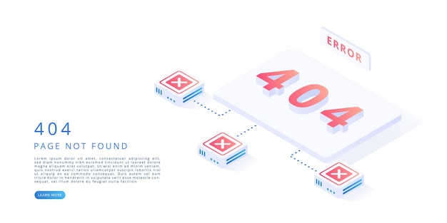 404 error page in isometric vector illustration 404 error website maintenance page not found concept