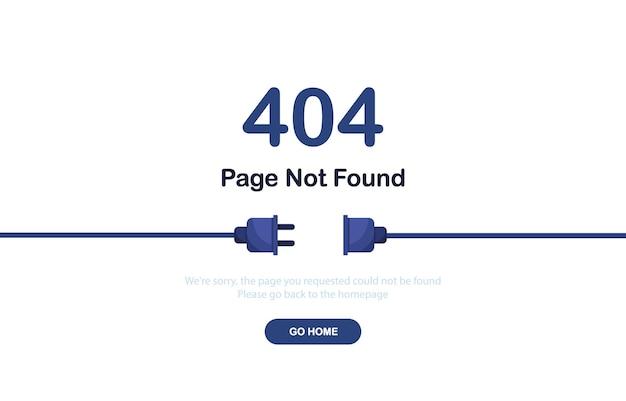Страница ошибки 404 не найдена баннер с кабелем и розеткой или вилкой для веб-сайта синий