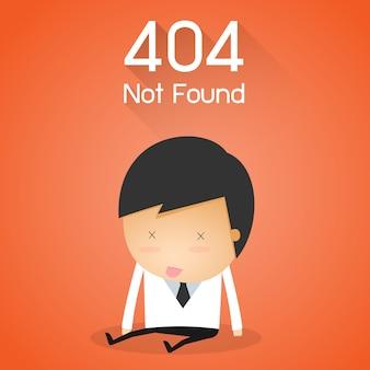 Ошибка 404 страница не найдена. концепция неудачи бизнесмена.