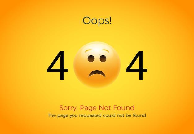 404エラーページが見つかりません。絵文字の悲しい笑顔。 404サイトページのイラストウェブデザイン。