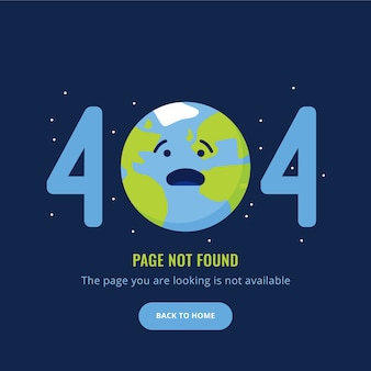 404 Error page not found illustration with sad earth