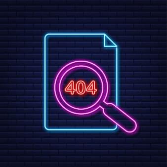 Страница ошибки 404 не найдена неоновая вывеска. векторная иллюстрация штока