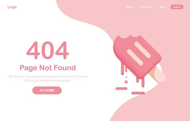 404エラーページがwebに見つかりません。アイスクリームや冷凍ジュース、シャーベット、デザートを溶かします。システムエラー、ページが壊れています。ウェブサイト用。 webテンプレート。ピンク