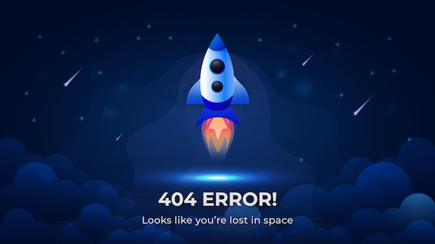 Ошибка 404 при запуске ракеты в космос, современный дизайн фона