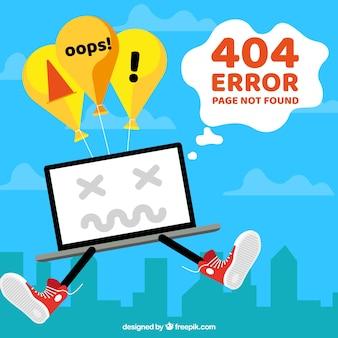 404 error template in flat style