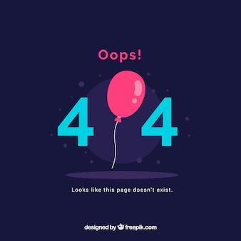 404 шаблон ошибки с воздушным шаром в плоском стиле