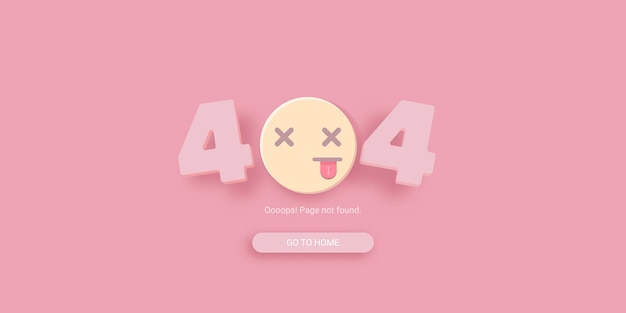 404 error template with dead smile face