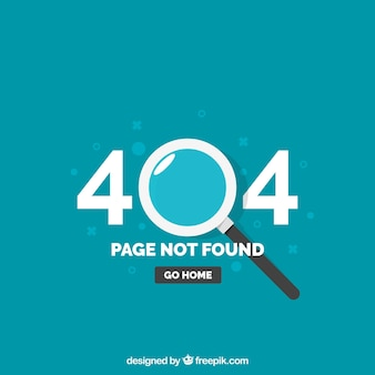 404 error template with magnifying glass in flat style