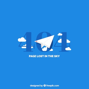 404 error template with paper airplane in flat style