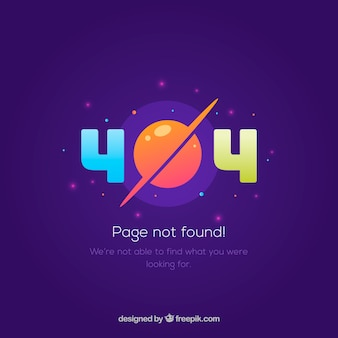 404 error template with planet in flat style
