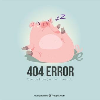 Modello di errore 404 con stile disegnato maiale in mano