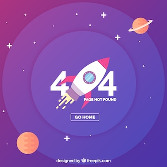 404 error template with space and ship in flat style
