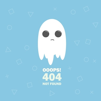 404 오류 만화 귀여운 유령과 함께 페이지를 찾을 수 없습니다