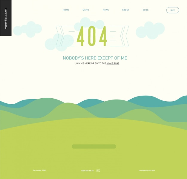 404 error web page template - landscape with green blueish hills and mountains, clear sky with clouds, green grass field