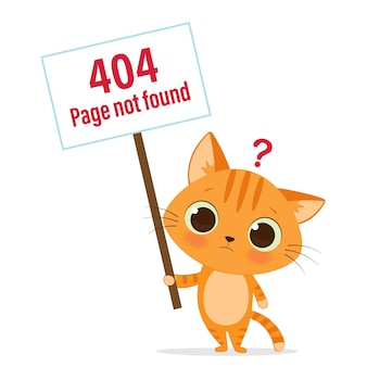 404 error web page template with cute cat