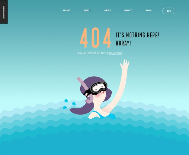 404 error web page template with waving girl in diving mask in the water