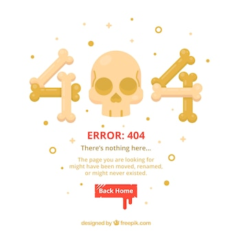 404 error web template with bones and skull in flat style