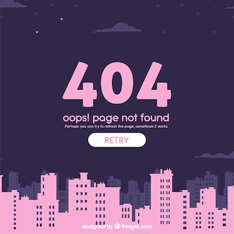 404 error web template with city in flat style