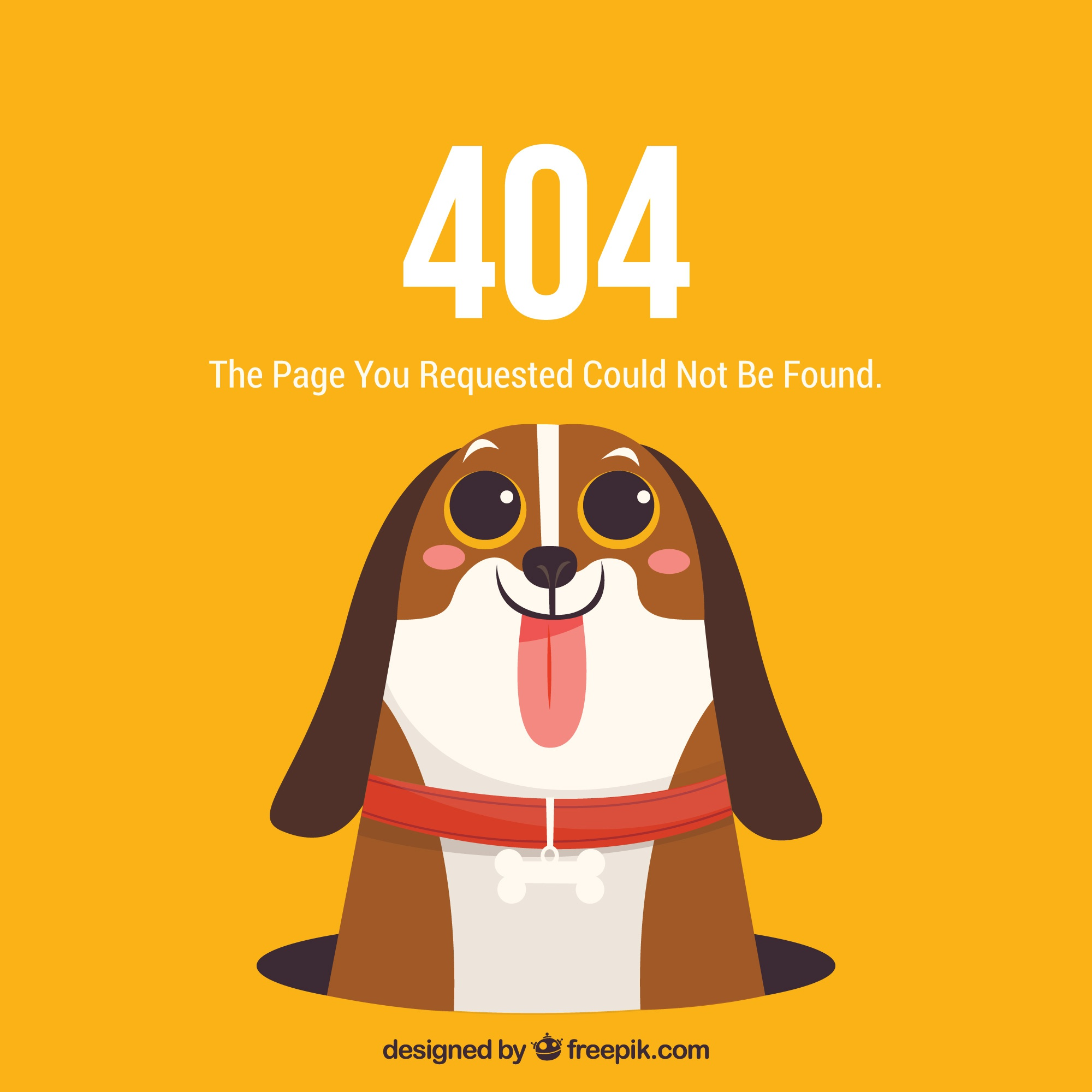404 error web template with cute doggy