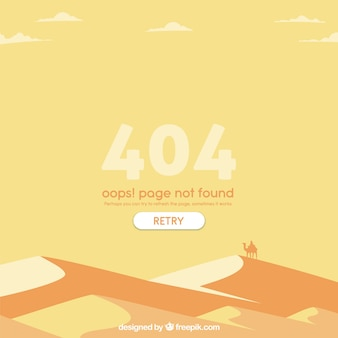 404 error web template with desert in flat style