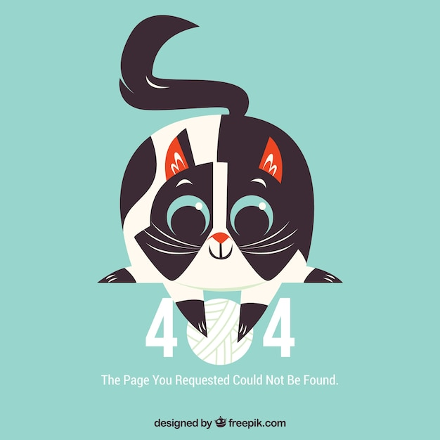 Free 404 error web template with happy cat SVG DXF EPS PNG - Print