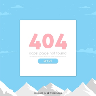 404 error web template with landscape in flat style