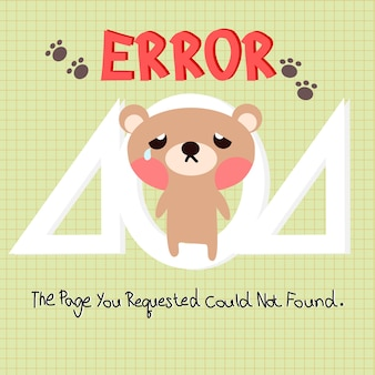404 error web template with little bear background