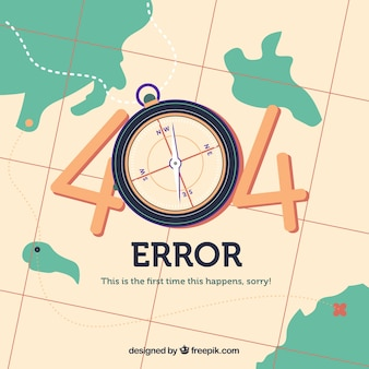 404 веб-шаблон ошибки с картой в плоском стиле