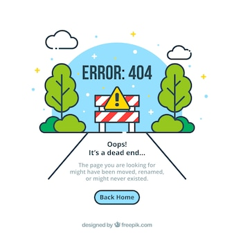 404 error web template with road in flat style