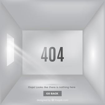 404 error web template with white and empty room