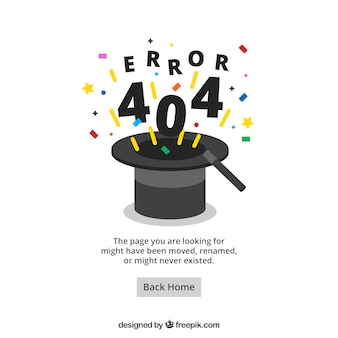 404 error web template with wizard hat in flat style