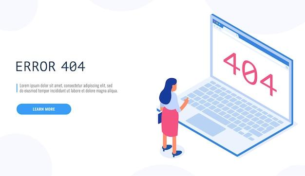 404エラー。ノートパソコンのディスプレイの漫画でページが見つからないメッセージを見ている女性。クライアントサービスは利用できません。